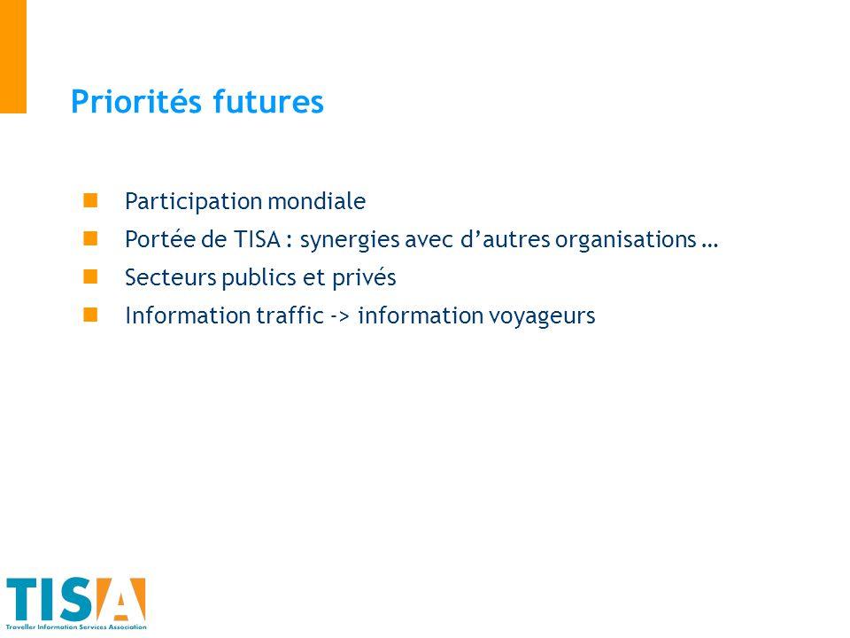Priorités futures Participation mondiale Portée de TISA : synergies avec dautres organisations … Secteurs publics et privés Information traffic -> inf