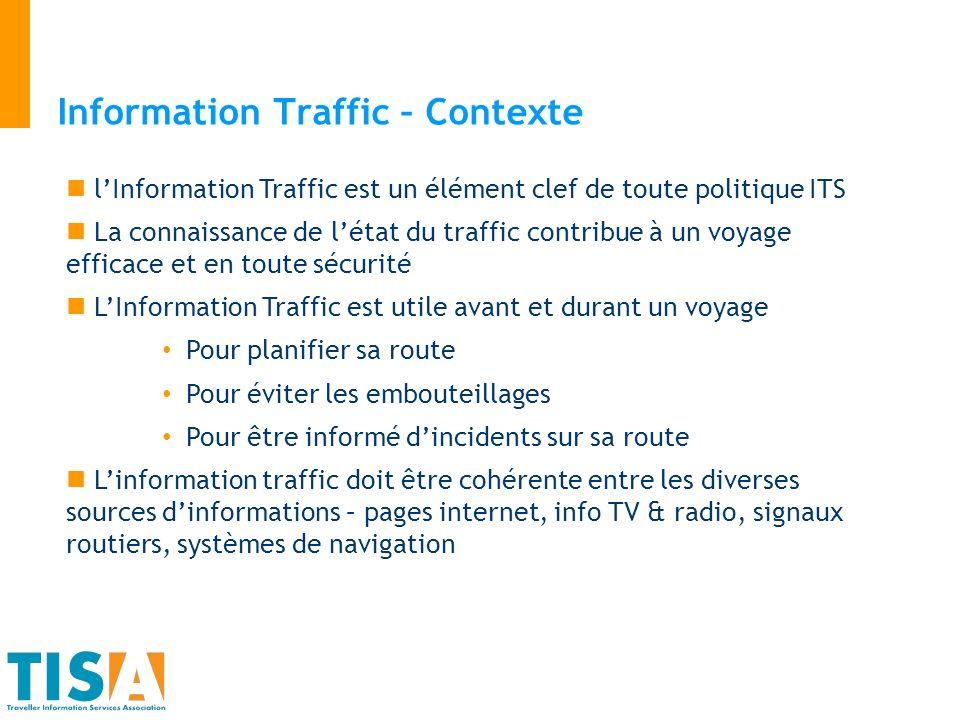 Information Traffic – Contexte lInformation Traffic est un élément clef de toute politique ITS La connaissance de létat du traffic contribue à un voya