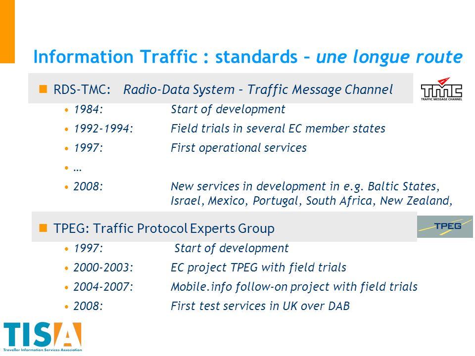 Priorités futures Participation mondiale Portée de TISA : synergies avec dautres organisations … Secteurs publics et privés Information traffic -> information voyageurs