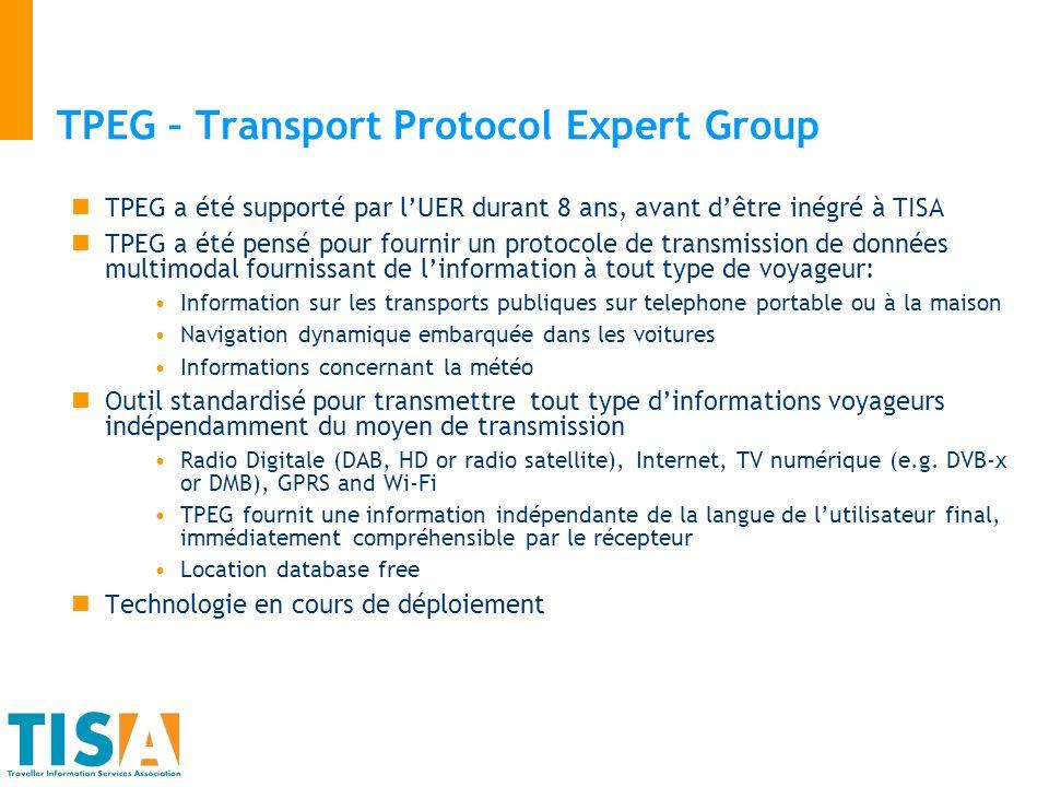 TPEG – Transport Protocol Expert Group TPEG a été supporté par lUER durant 8 ans, avant dêtre inégré à TISA TPEG a été pensé pour fournir un protocole