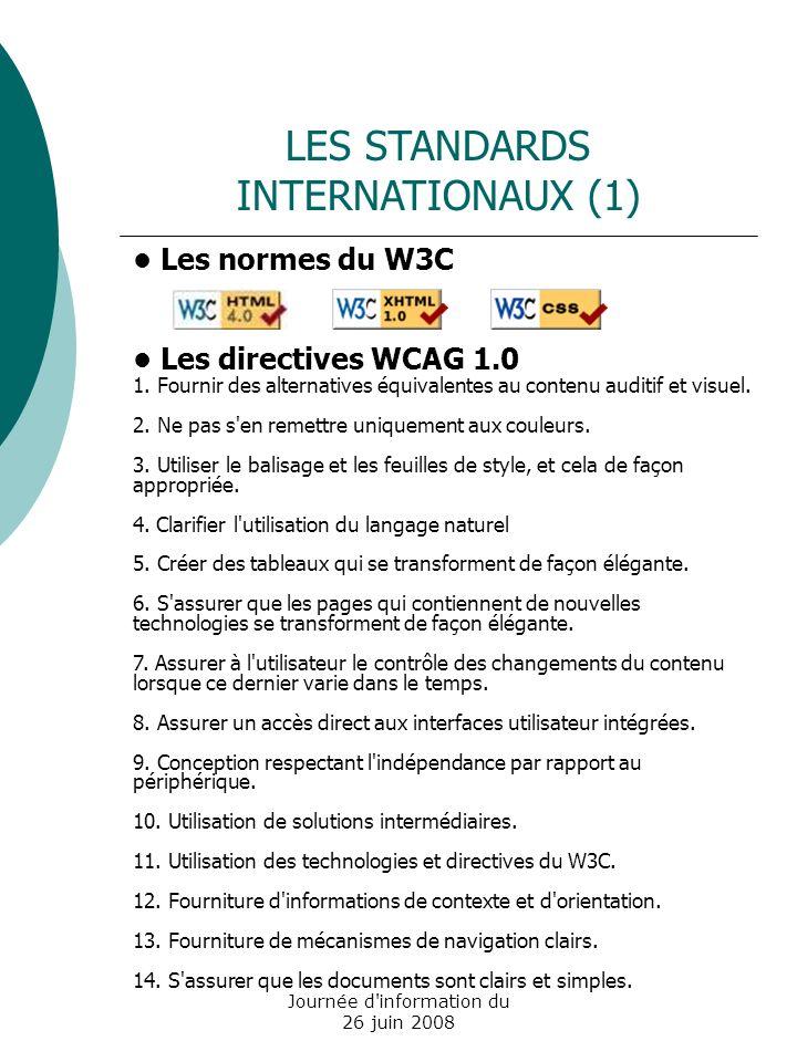 Journée d information du 26 juin 2008 Les normes du W3C Les directives WCAG 1.0 1.