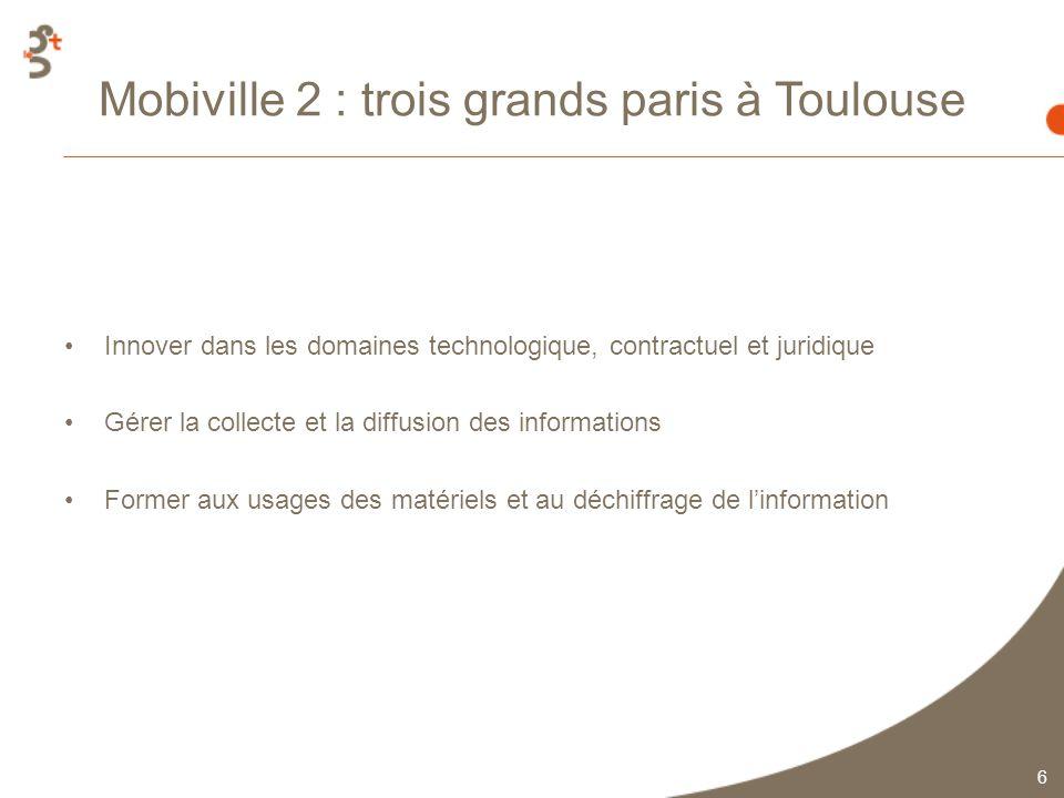 6 Mobiville 2 : trois grands paris à Toulouse Innover dans les domaines technologique, contractuel et juridique Gérer la collecte et la diffusion des informations Former aux usages des matériels et au déchiffrage de linformation