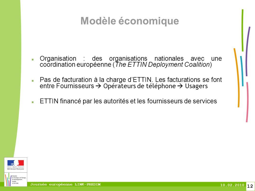 Journée européenne LINK-PREDIM 10.02.2010 12 Modèle économique Organisation : des organisations nationales avec une coordination européenne (The ETTIN Deployment Coalition) Pas de facturation à la charge dETTIN.