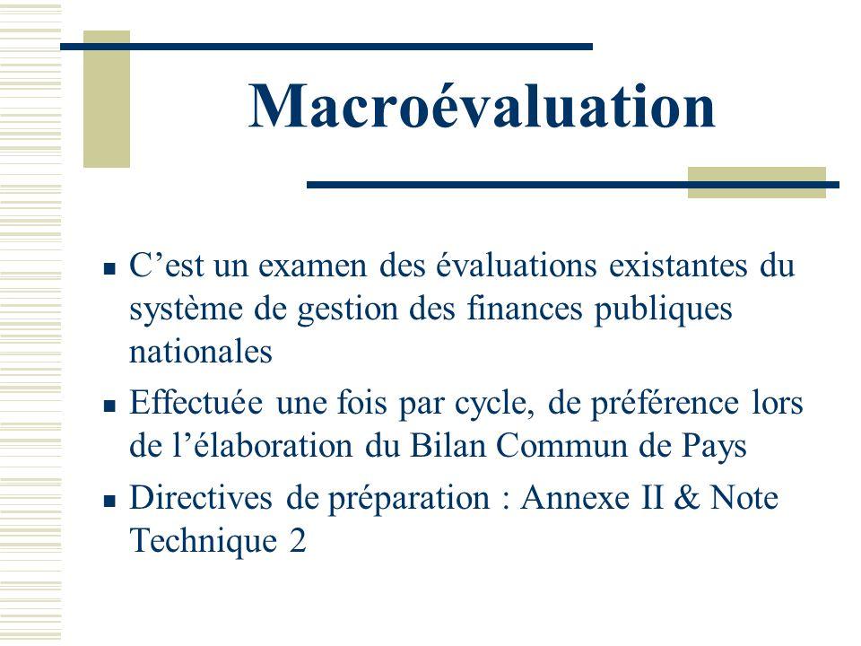 Macroévaluation Cest un examen des évaluations existantes du système de gestion des finances publiques nationales Effectuée une fois par cycle, de pré