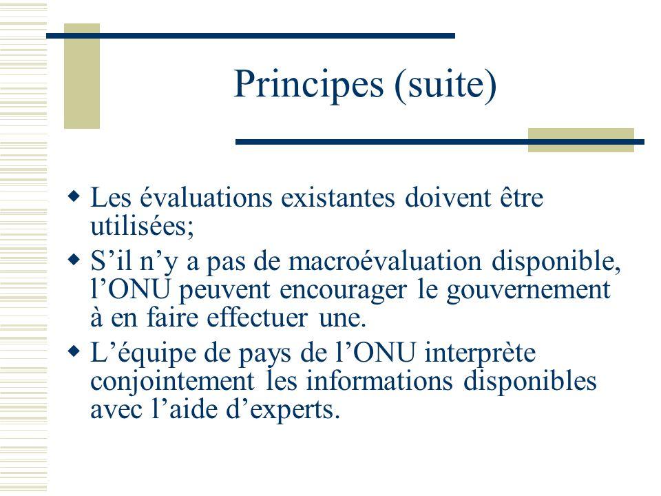 Principes (suite) Les évaluations existantes doivent être utilisées; Sil ny a pas de macroévaluation disponible, lONU peuvent encourager le gouverneme