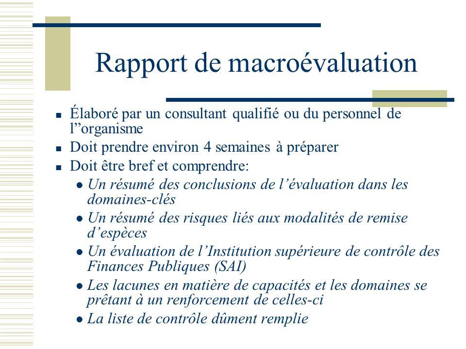 Rapport de macroévaluation Élaboré par un consultant qualifié ou du personnel de lorganisme Doit prendre environ 4 semaines à préparer Doit être bref