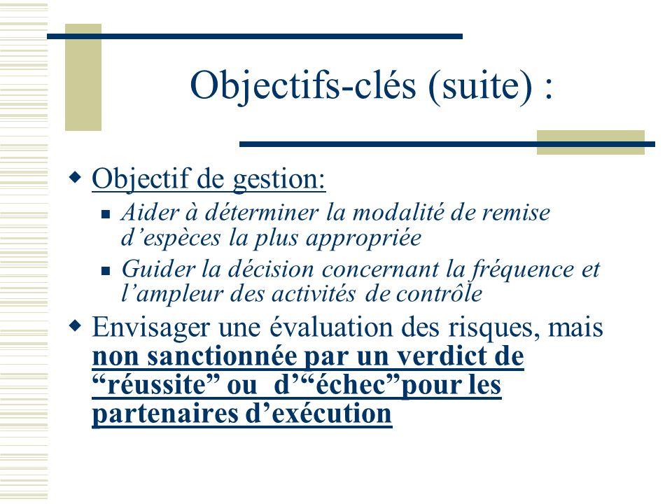 Objectifs-clés (suite) : Objectif de gestion: Aider à déterminer la modalité de remise despèces la plus appropriée Guider la décision concernant la fr