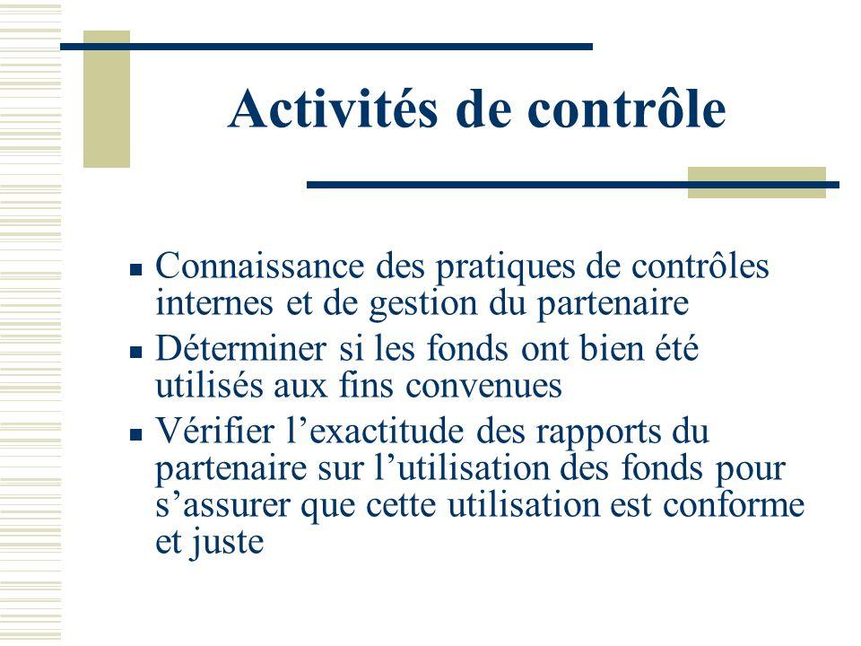 Activités de contrôle Connaissance des pratiques de contrôles internes et de gestion du partenaire Déterminer si les fonds ont bien été utilisés aux f