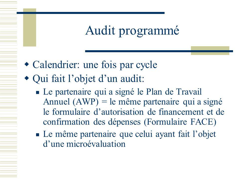 Audit programmé Calendrier: une fois par cycle Qui fait lobjet dun audit: Le partenaire qui a signé le Plan de Travail Annuel (AWP) = le même partenai
