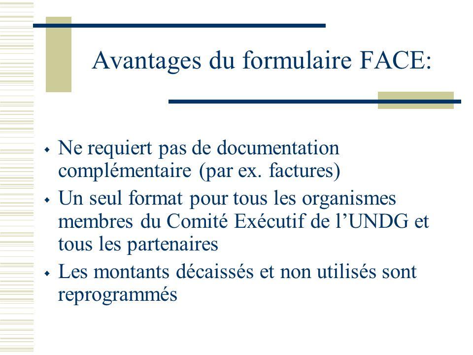 Avantages du formulaire FACE: Ne requiert pas de documentation complémentaire (par ex. factures) Un seul format pour tous les organismes membres du Co