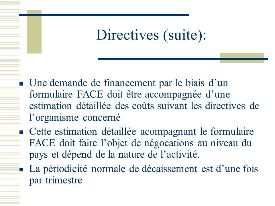Directives (suite): Une demande de financement par le biais dun formulaire FACE doit être accompagnée dune estimation détaillée des coûts suivant les