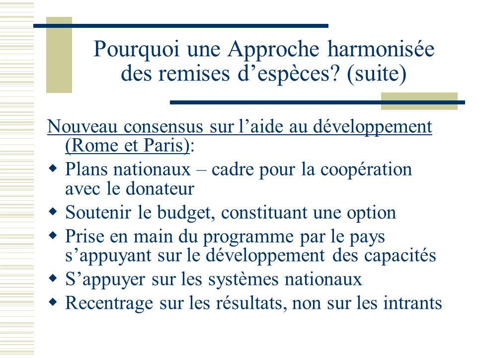 Pourquoi une Approche harmonisée des remises despèces? (suite) Nouveau consensus sur laide au développement (Rome et Paris): Plans nationaux – cadre p
