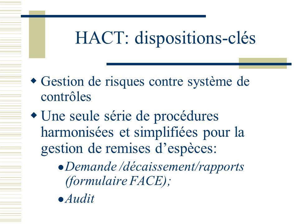 HACT: dispositions-clés Gestion de risques contre système de contrôles Une seule série de procédures harmonisées et simplifiées pour la gestion de rem