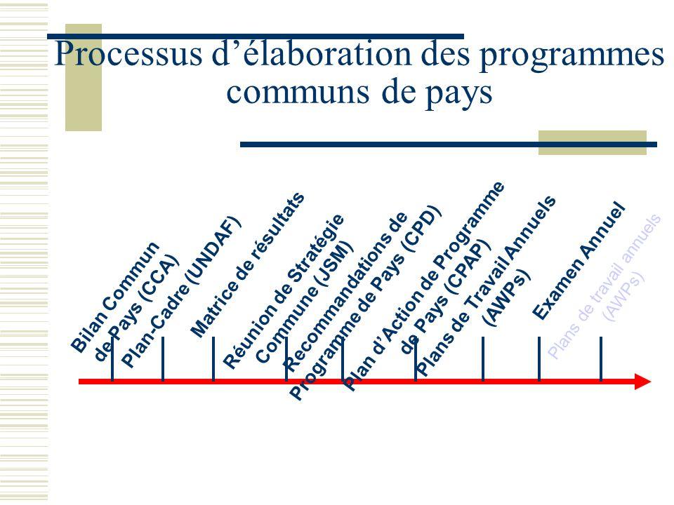 Bilan Commun de Pays (CCA) Plans de Travail Annuels (AWPs) Plan-Cadre (UNDAF) Matrice de résultats Réunion de Stratégie Commune (JSM) Recommandations