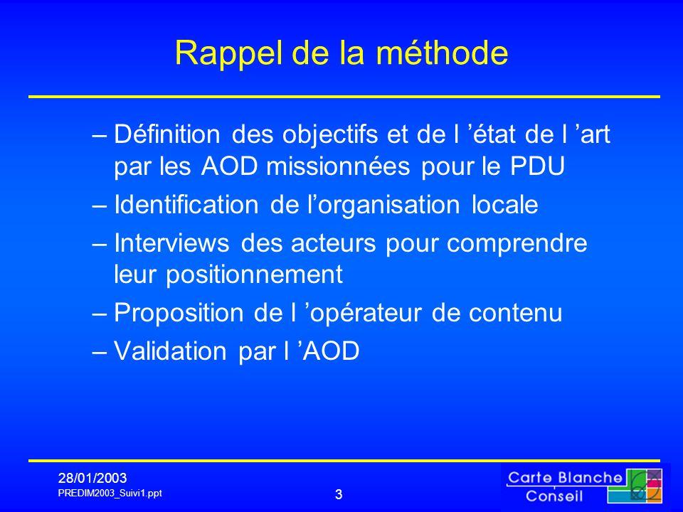 PREDIM2003_Suivi1.ppt 28/01/2003 4 Positionnement d une AO Rennes métropole -Distinction du structurel & du conjoncturel -Un jeu institutionnel clarifié sauf CG35 -Coordination d un projet de centralisation ?.