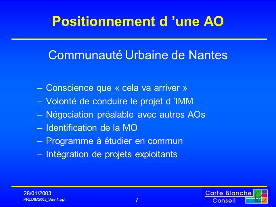 PREDIM2003_Suivi1.ppt 28/01/2003 8 Phasage 1.Note d analyse des deux sites 2.