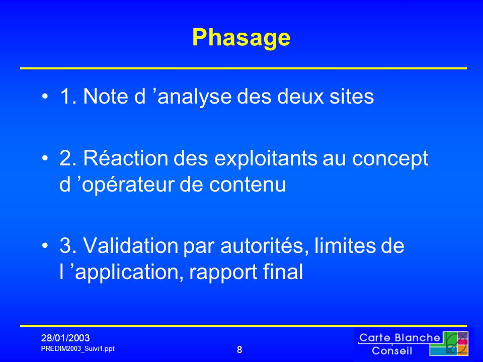 PREDIM2003_Suivi1.ppt 28/01/ Phasage 1. Note d analyse des deux sites 2.