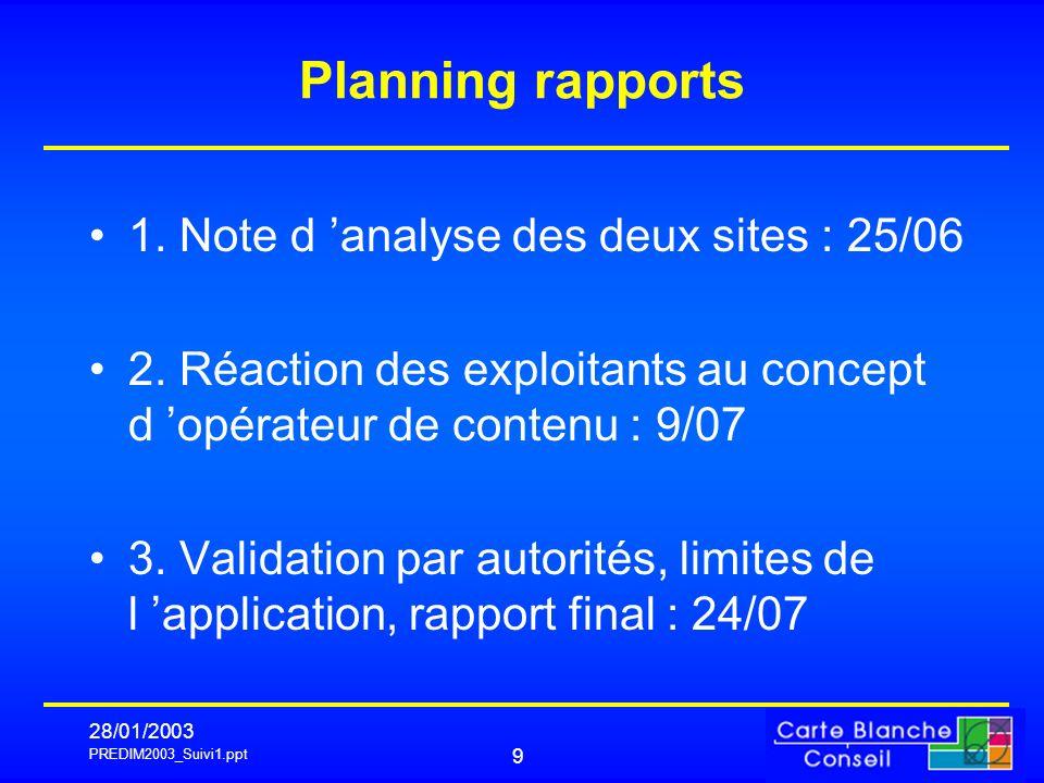 PREDIM2003_Suivi1.ppt 28/01/2003 9 Planning rapports 1.