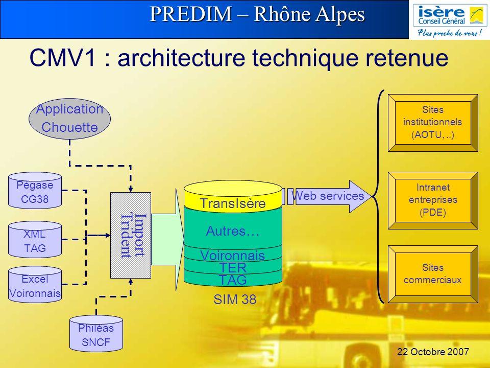 PREDIM – Rhône Alpes 22 Octobre 2007 CMV1 : architecture technique retenue TAG TER Voironnais Autres… TransIsère SIM 38 Import Trident Pégase CG38 Exc