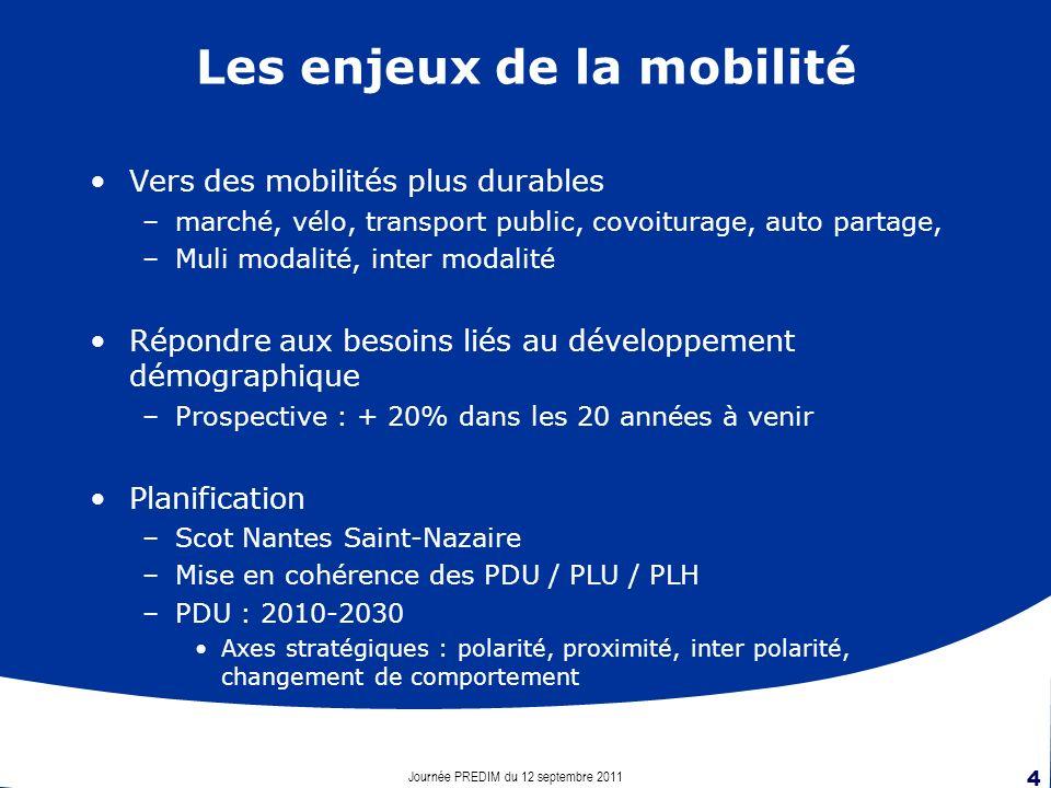 Journée PREDIM du 12 septembre 2011 4 Les enjeux de la mobilité Vers des mobilités plus durables –marché, vélo, transport public, covoiturage, auto partage, –Muli modalité, inter modalité Répondre aux besoins liés au développement démographique –Prospective : + 20% dans les 20 années à venir Planification –Scot Nantes Saint-Nazaire –Mise en cohérence des PDU / PLU / PLH –PDU : 2010-2030 Axes stratégiques : polarité, proximité, inter polarité, changement de comportement