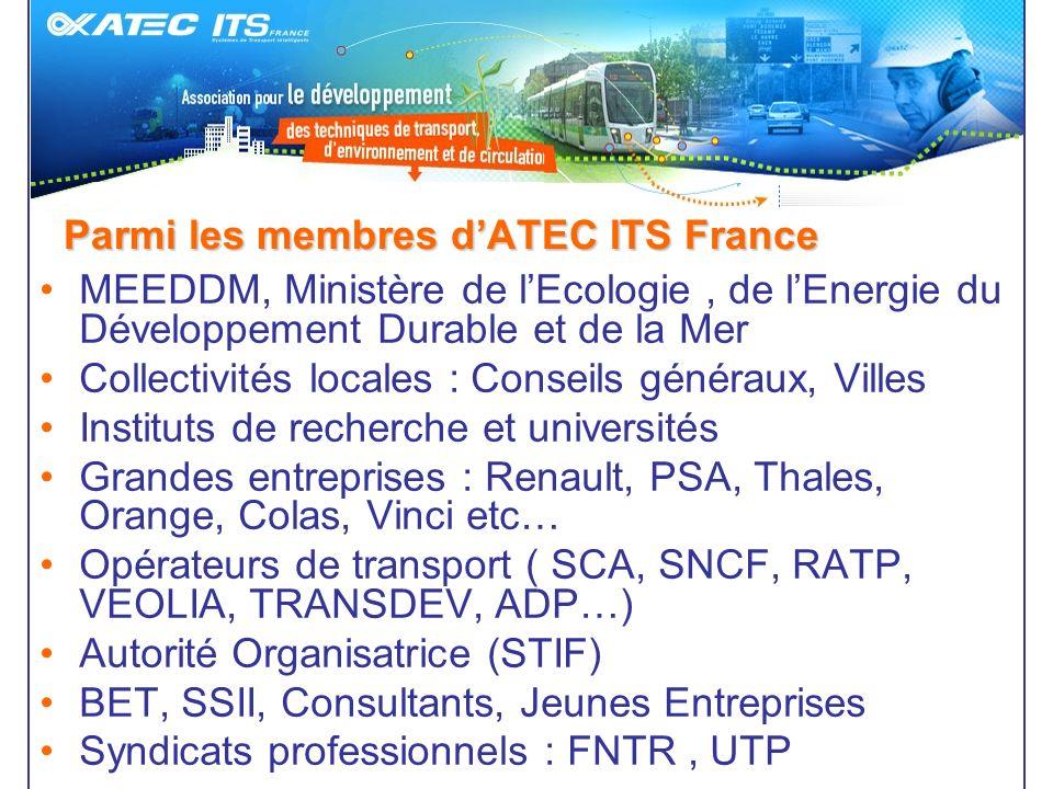 Parmi les membres dATEC ITS France MEEDDM, Ministère de lEcologie, de lEnergie du Développement Durable et de la Mer Collectivités locales : Conseils