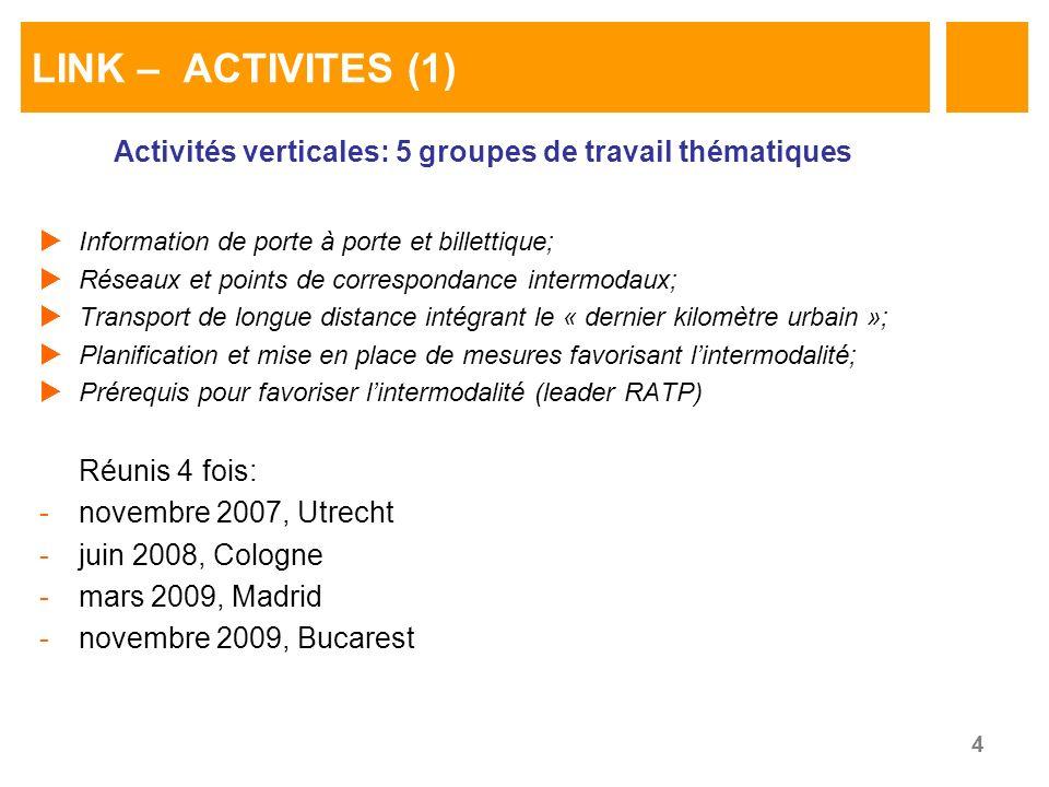 4 LINK – ACTIVITES (1) Activités verticales: 5 groupes de travail thématiques Information de porte à porte et billettique; Réseaux et points de correspondance intermodaux; Transport de longue distance intégrant le « dernier kilomètre urbain »; Planification et mise en place de mesures favorisant lintermodalité; Prérequis pour favoriser lintermodalité (leader RATP) Réunis 4 fois: -novembre 2007, Utrecht -juin 2008, Cologne -mars 2009, Madrid -novembre 2009, Bucarest