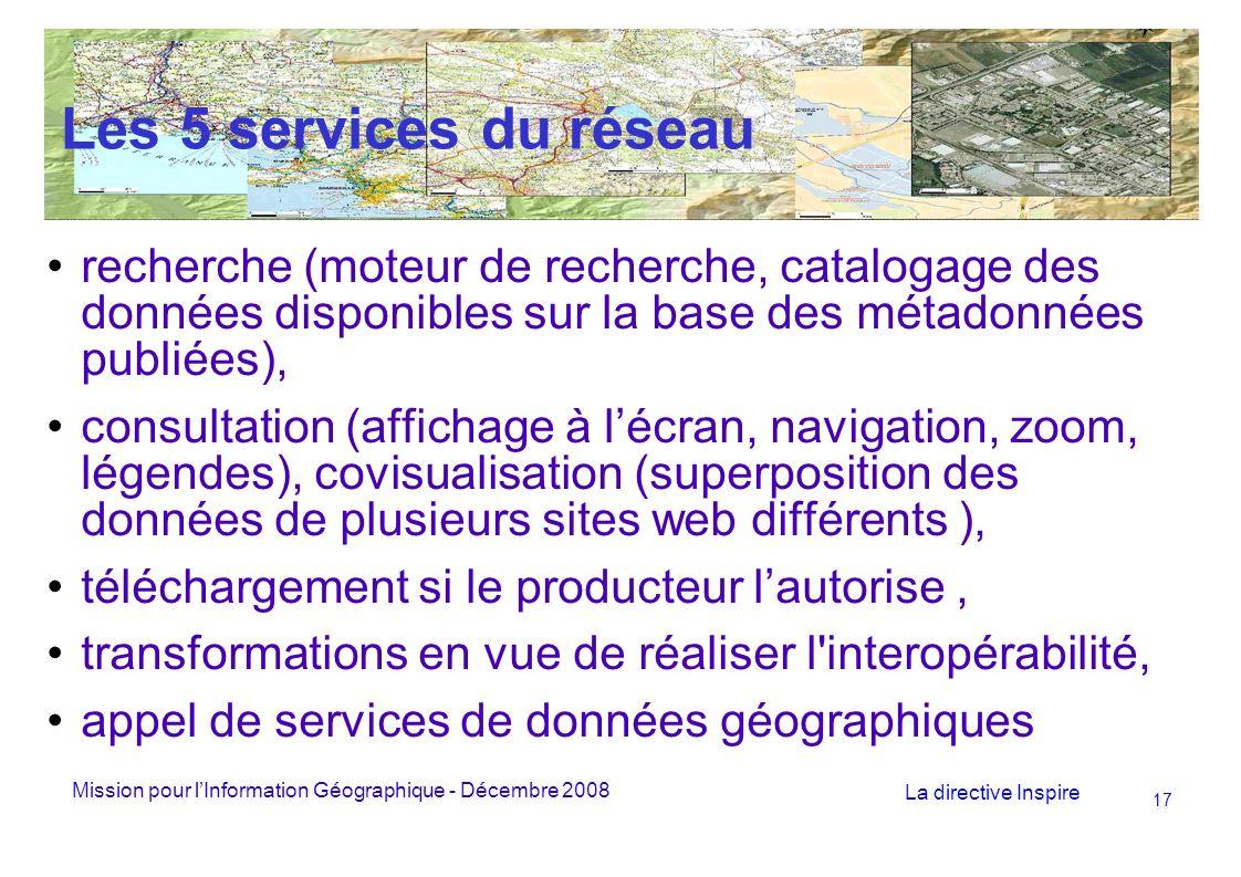 Mission pour lInformation Géographique - Décembre 2008 La directive Inspire 17 Les 5 services du réseau recherche (moteur de recherche, catalogage des données disponibles sur la base des métadonnées publiées), consultation (affichage à lécran, navigation, zoom, légendes), covisualisation (superposition des données de plusieurs sites web différents ), téléchargement si le producteur lautorise, transformations en vue de réaliser l interopérabilité, appel de services de données géographiques
