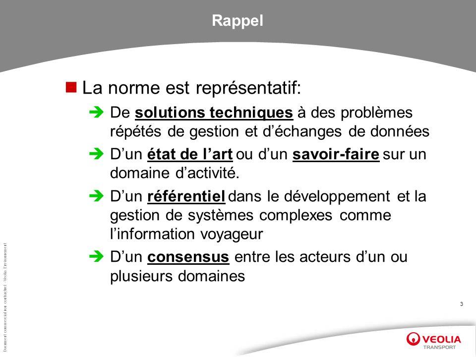Document commercial non contractuel –Veolia Environnement 3 Rappel La norme est représentatif: De solutions techniques à des problèmes répétés de gest
