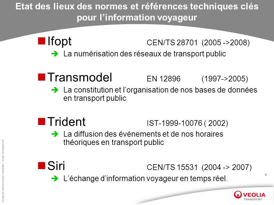 Document commercial non contractuel –Veolia Environnement 4 Etat des lieux des normes et références techniques clés pour linformation voyageur Ifopt C
