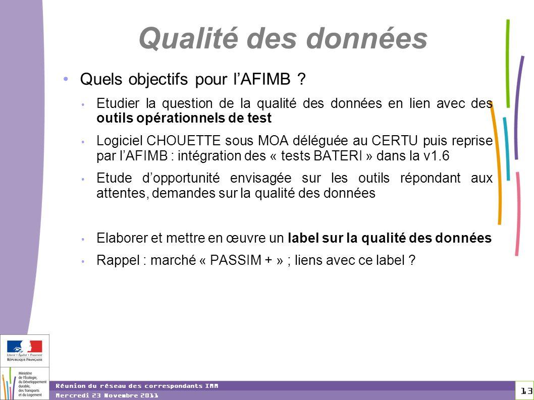 13 13 Réunion du réseau des correspondants IMM Mercredi 23 Novembre 2011 Qualité des données Quels objectifs pour lAFIMB ? Etudier la question de la q