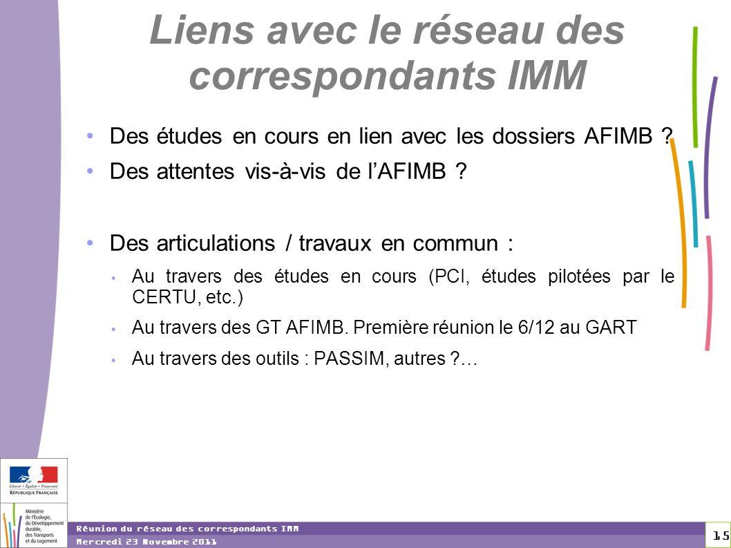15 15 Réunion du réseau des correspondants IMM Mercredi 23 Novembre 2011 Liens avec le réseau des correspondants IMM Des études en cours en lien avec les dossiers AFIMB .