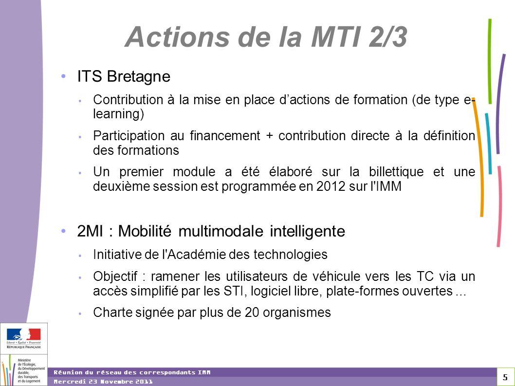 5 5 5 Réunion du réseau des correspondants IMM Mercredi 23 Novembre 2011 Actions de la MTI 2/3 ITS Bretagne Contribution à la mise en place dactions d