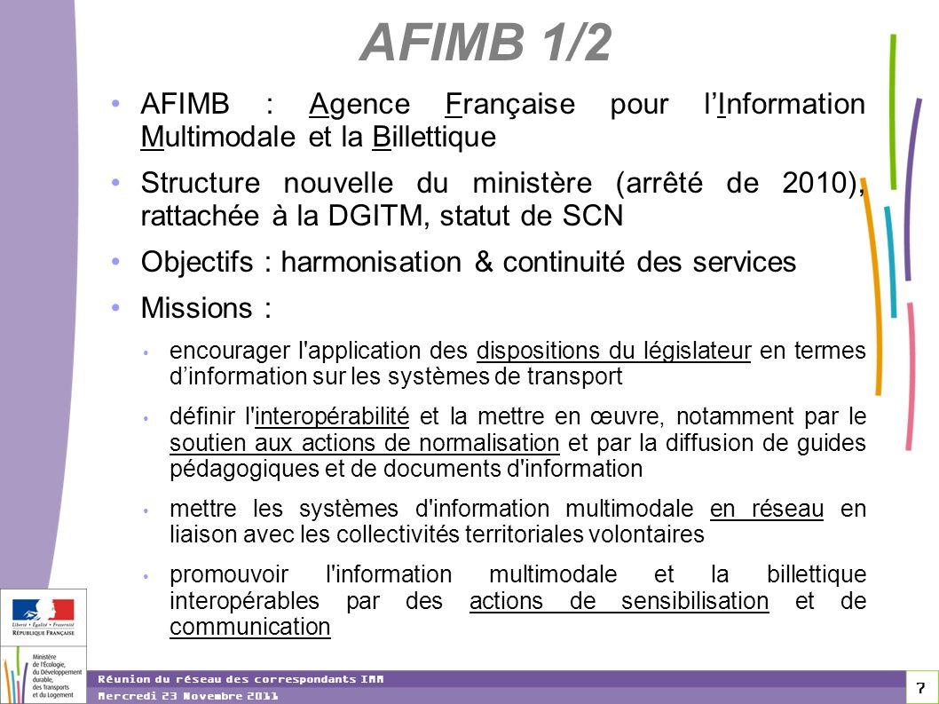 7 7 7 Réunion du réseau des correspondants IMM Mercredi 23 Novembre 2011 AFIMB 1/2 AFIMB : Agence Française pour lInformation Multimodale et la Billet