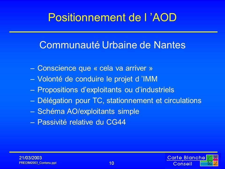 PREDIM2003_Contenu.ppt 21/03/2003 10 Positionnement de l AOD Communauté Urbaine de Nantes –Conscience que « cela va arriver » –Volonté de conduire le
