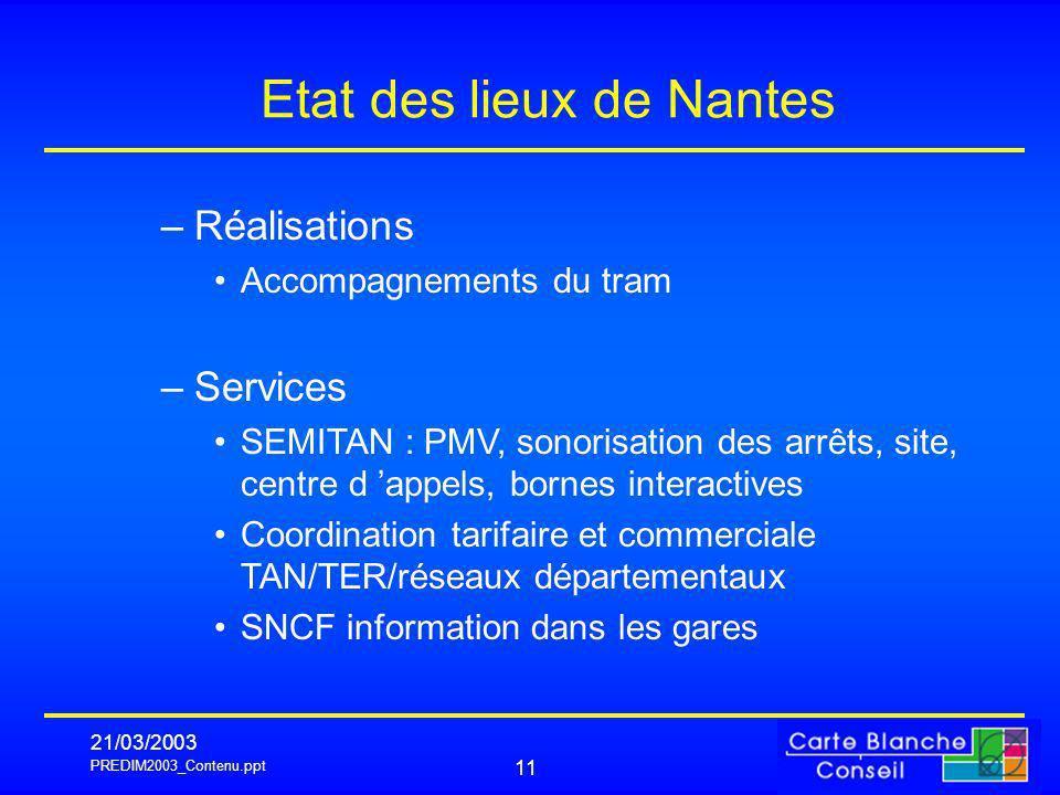 PREDIM2003_Contenu.ppt 21/03/2003 11 Etat des lieux de Nantes –Réalisations Accompagnements du tram –Services SEMITAN : PMV, sonorisation des arrêts,