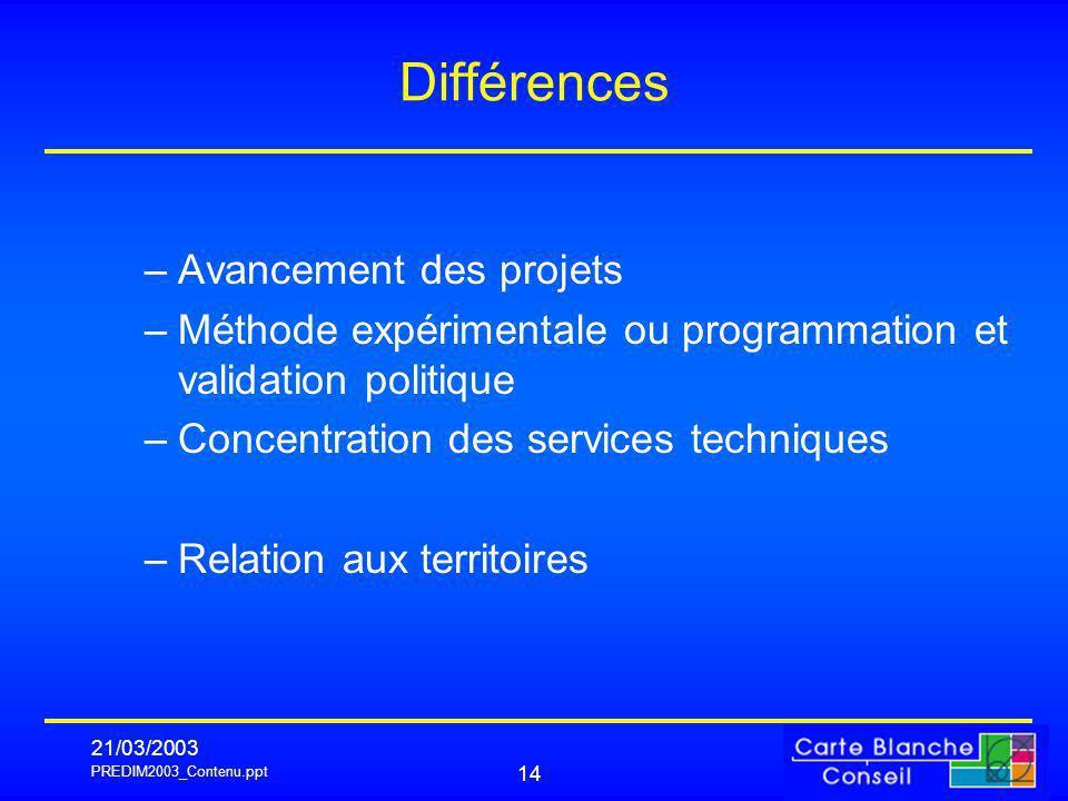 PREDIM2003_Contenu.ppt 21/03/2003 14 Différences –Avancement des projets –Méthode expérimentale ou programmation et validation politique –Concentration des services techniques –Relation aux territoires