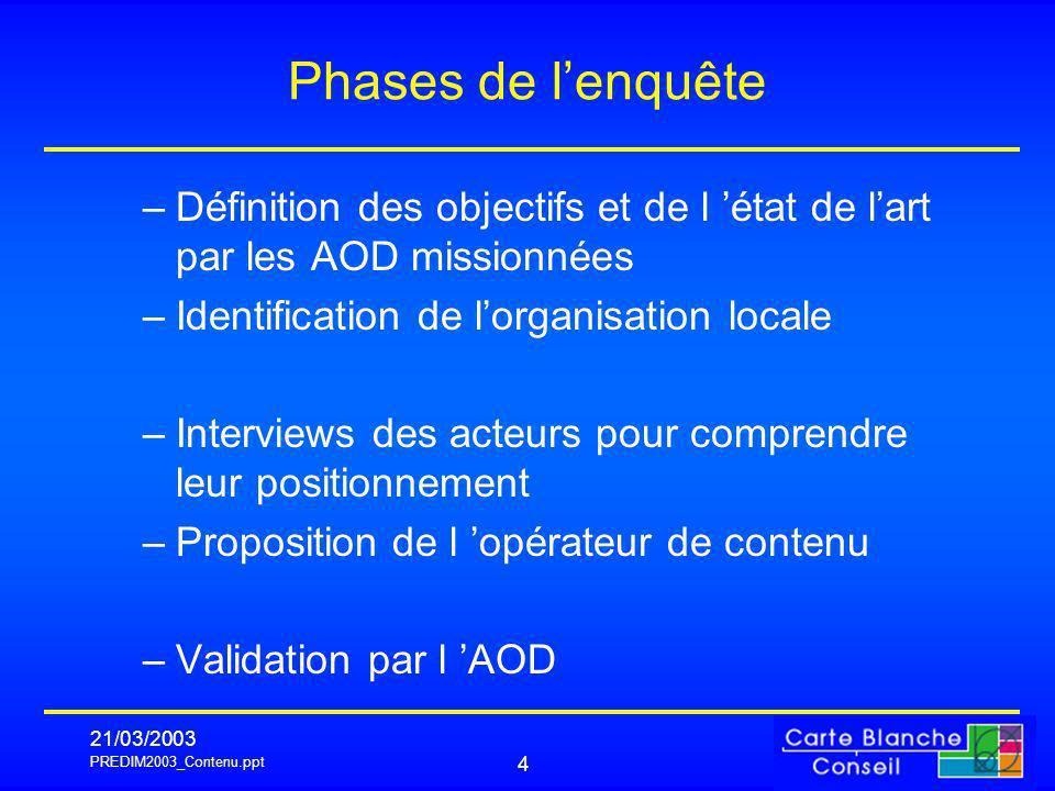 PREDIM2003_Contenu.ppt 21/03/2003 4 Phases de lenquête –Définition des objectifs et de l état de lart par les AOD missionnées –Identification de lorga