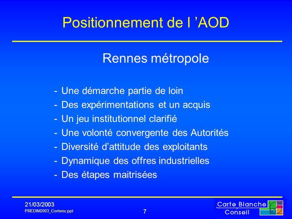 PREDIM2003_Contenu.ppt 21/03/2003 7 Positionnement de l AOD Rennes métropole -Une démarche partie de loin -Des expérimentations et un acquis -Un jeu i