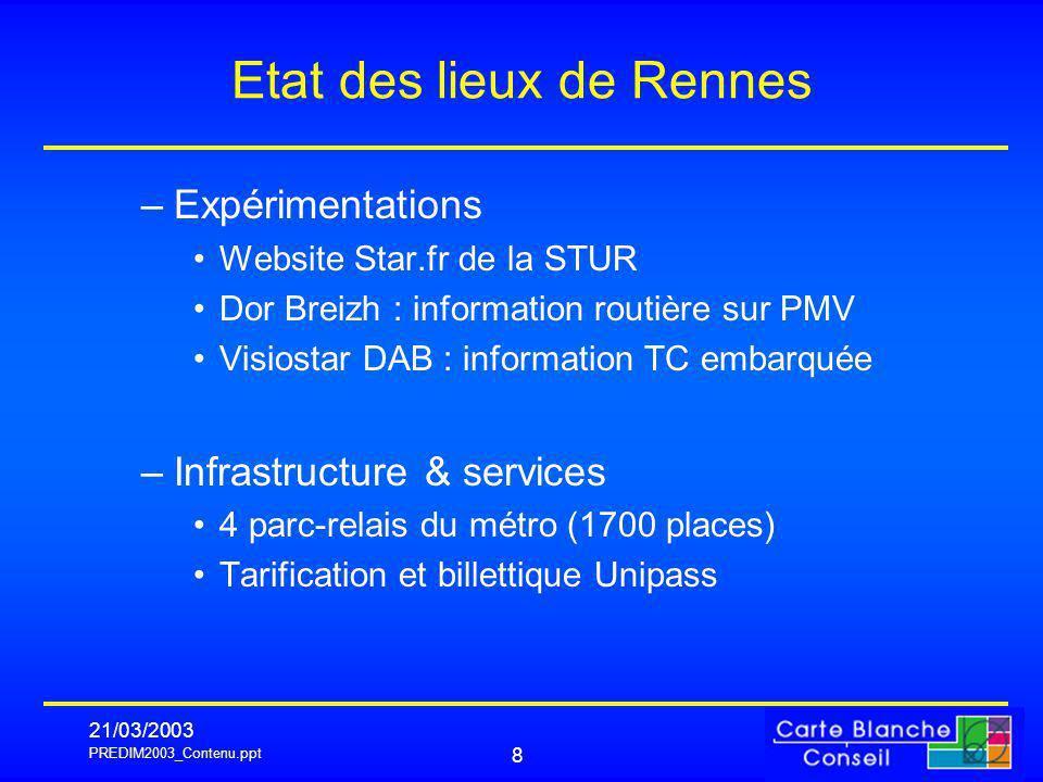PREDIM2003_Contenu.ppt 21/03/2003 8 Etat des lieux de Rennes –Expérimentations Website Star.fr de la STUR Dor Breizh : information routière sur PMV Vi