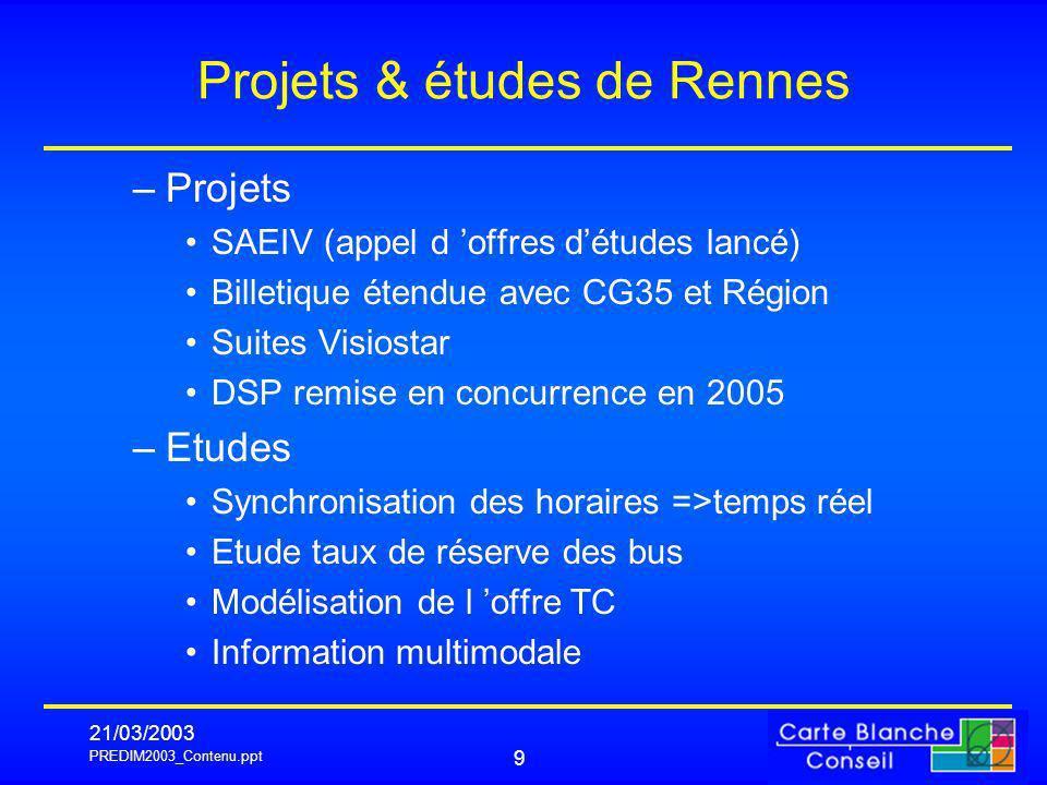 PREDIM2003_Contenu.ppt 21/03/2003 9 Projets & études de Rennes –Projets SAEIV (appel d offres détudes lancé) Billetique étendue avec CG35 et Région Su