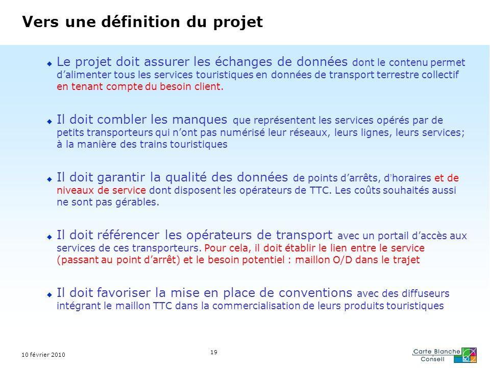 10 février 2010 19 Vers une définition du projet Le projet doit assurer les échanges de données dont le contenu permet dalimenter tous les services to