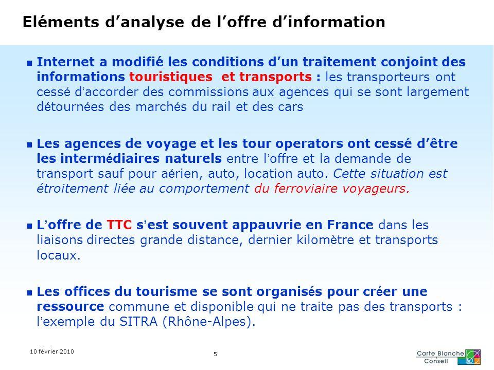 5 Eléments danalyse de loffre dinformation Internet a modifié les conditions dun traitement conjoint des informations touristiques et transports : les