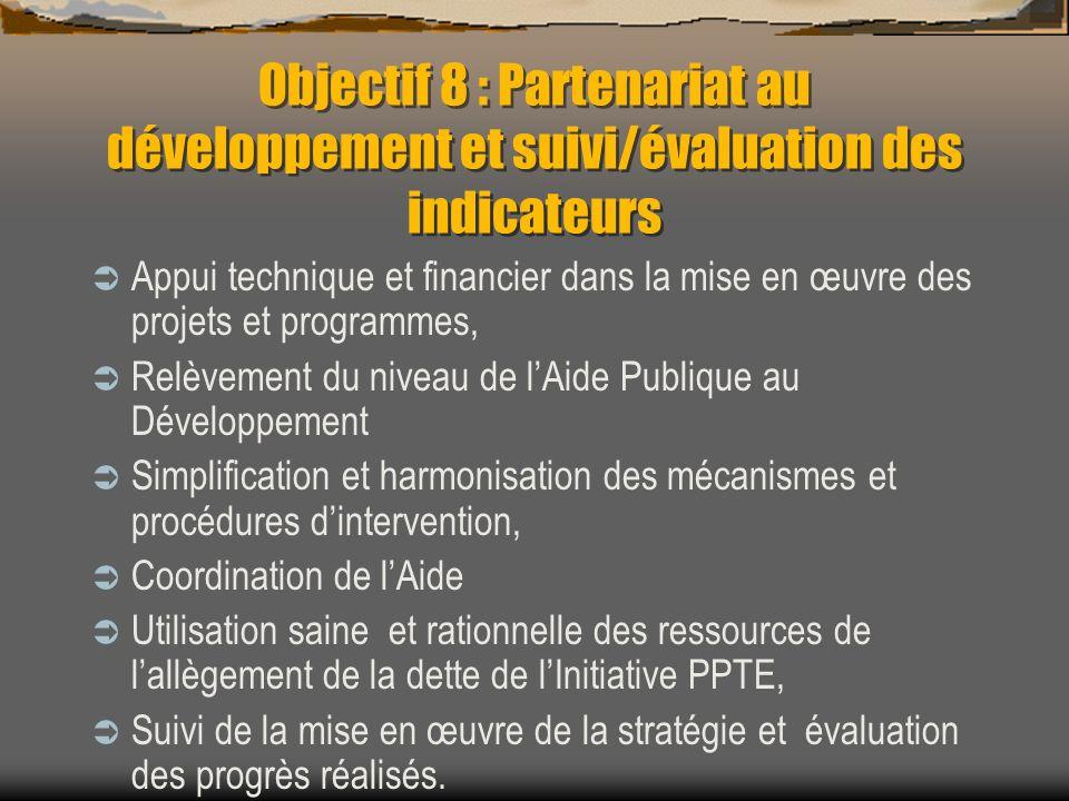 Objectif 8 : Partenariat au développement et suivi/évaluation des indicateurs Appui technique et financier dans la mise en œuvre des projets et progra