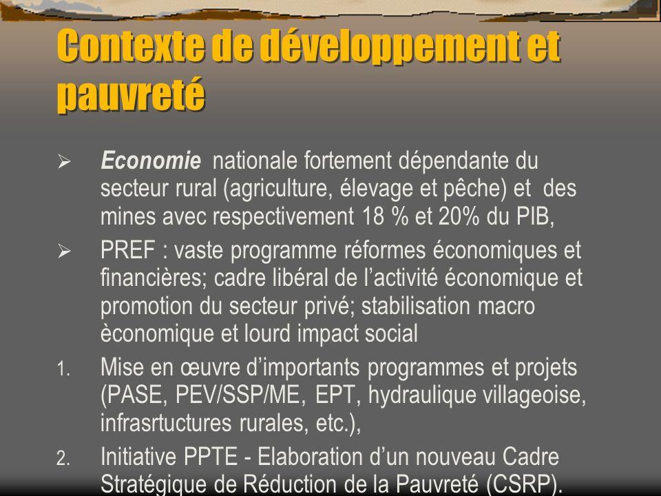 Contexte de développement et pauvreté Economie nationale fortement dépendante du secteur rural (agriculture, élevage et pêche) et des mines avec respe