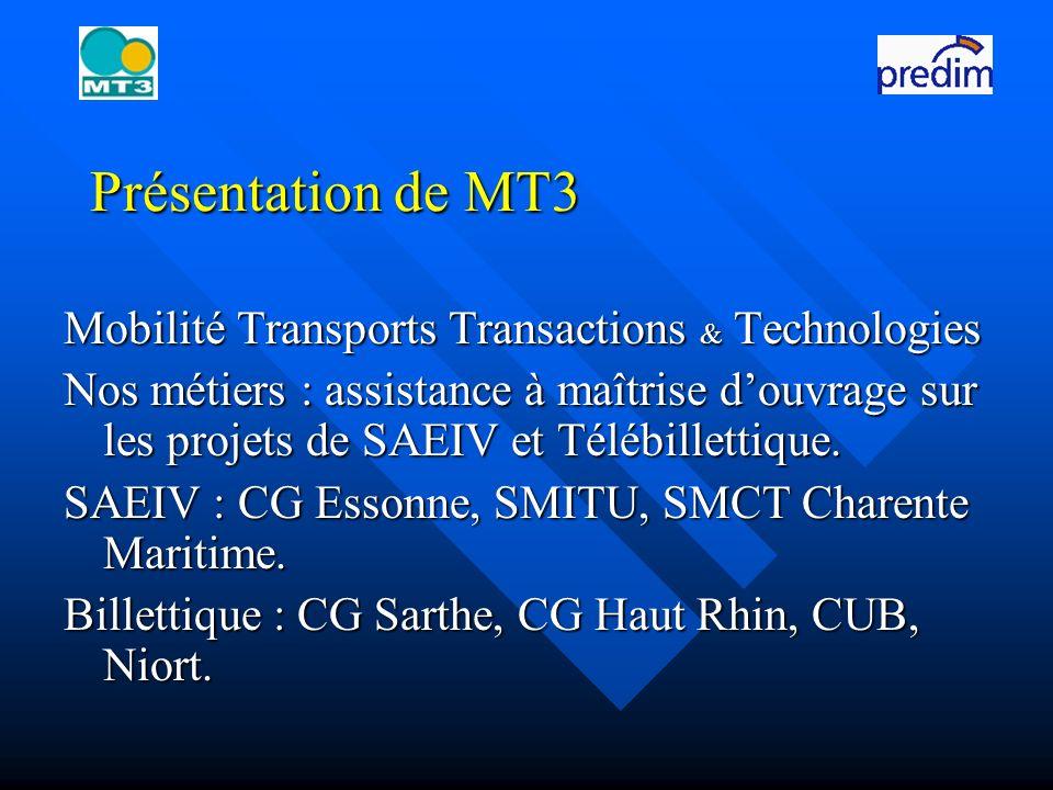 Présentation de MT3 Mobilité Transports Transactions & Technologies Nos métiers : assistance à maîtrise douvrage sur les projets de SAEIV et Télébillettique.