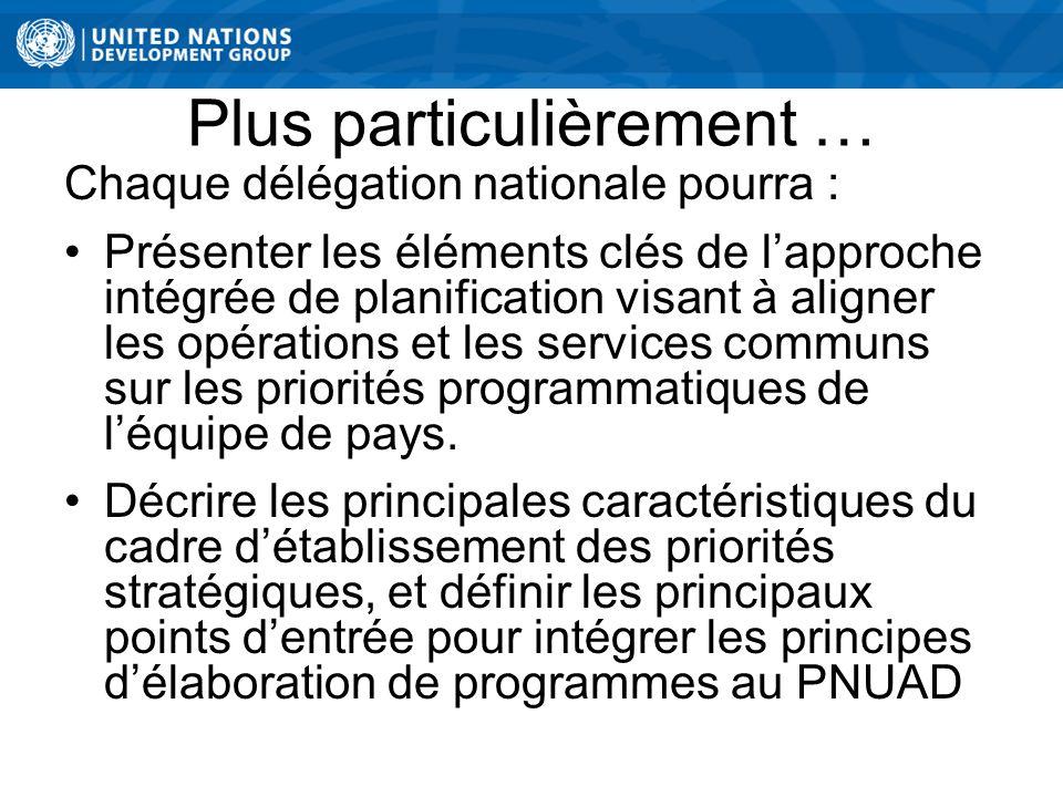 Plus particulièrement … Chaque délégation nationale pourra : Présenter les éléments clés de lapproche intégrée de planification visant à aligner les opérations et les services communs sur les priorités programmatiques de léquipe de pays.