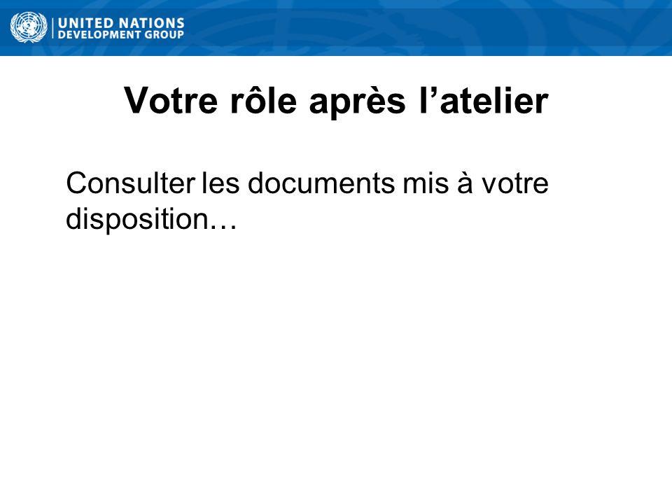 Votre rôle après latelier Consulter les documents mis à votre disposition…