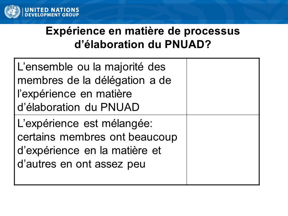 Expérience en matière de processus délaboration du PNUAD.