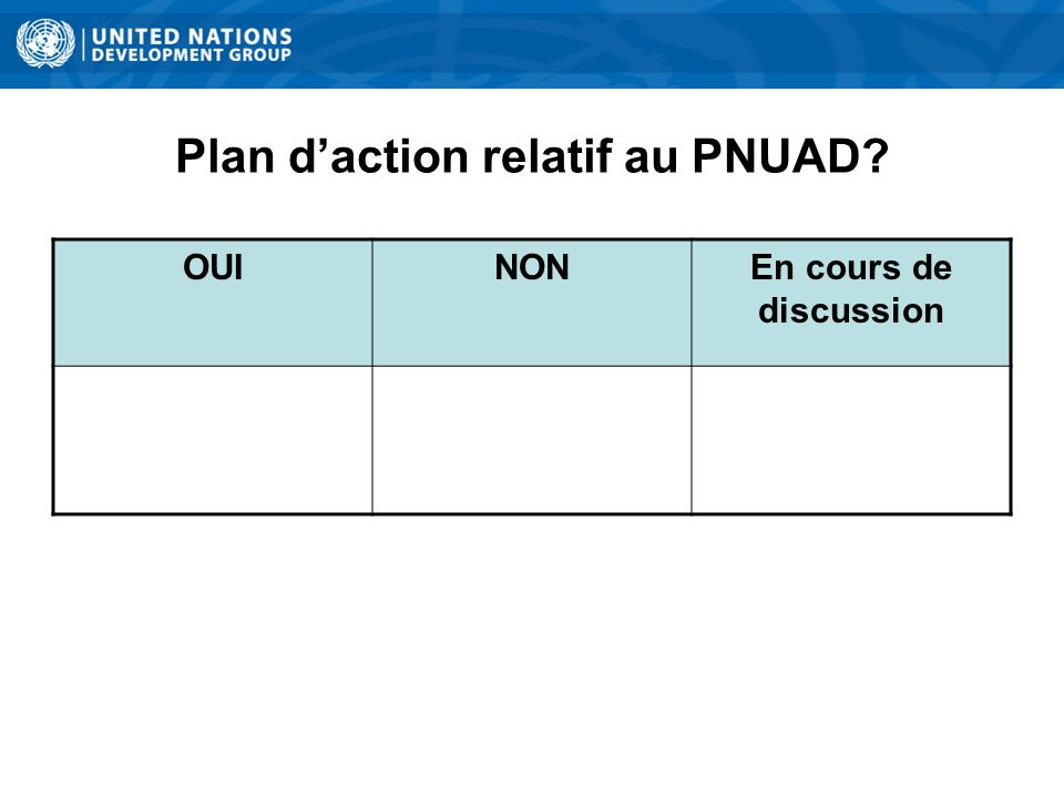 Plan daction relatif au PNUAD OUINONEn cours de discussion