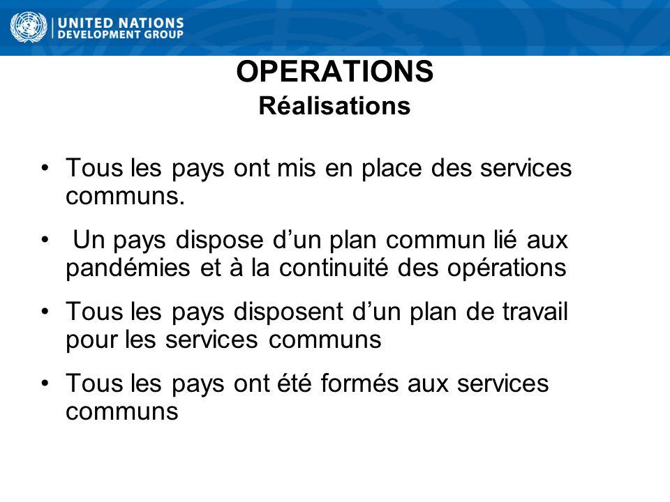 OPERATIONS Réalisations Tous les pays ont mis en place des services communs.